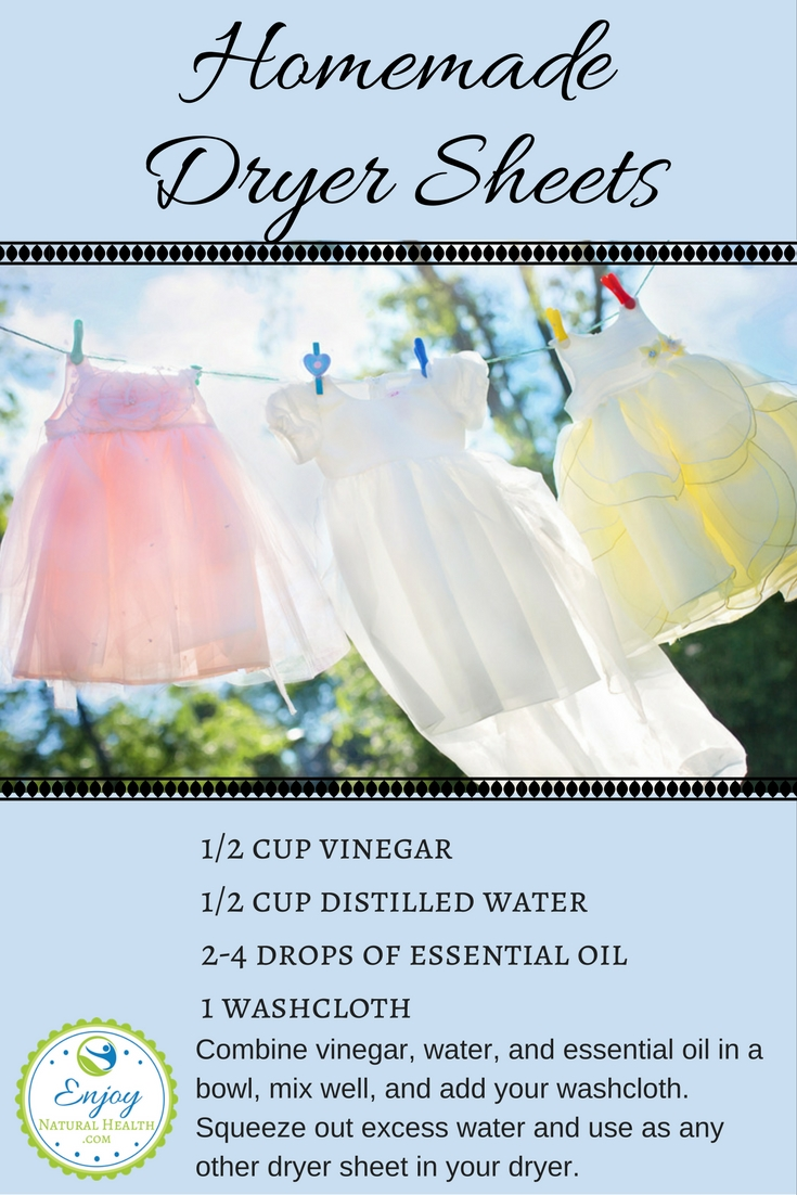 Use this natural version of dryer sheets for your laundry instead of the toxic commercial dryer sheets. There are more recipes for natural cleaning products when you click on the image :)
