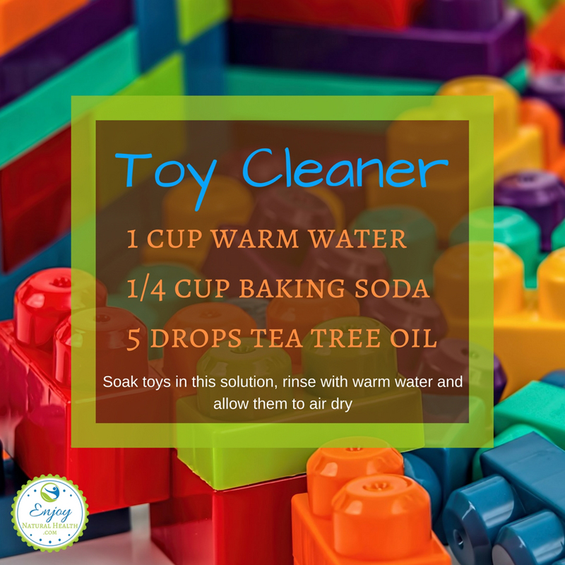 Natural toy cleaner made wiht baking soda and essential oils