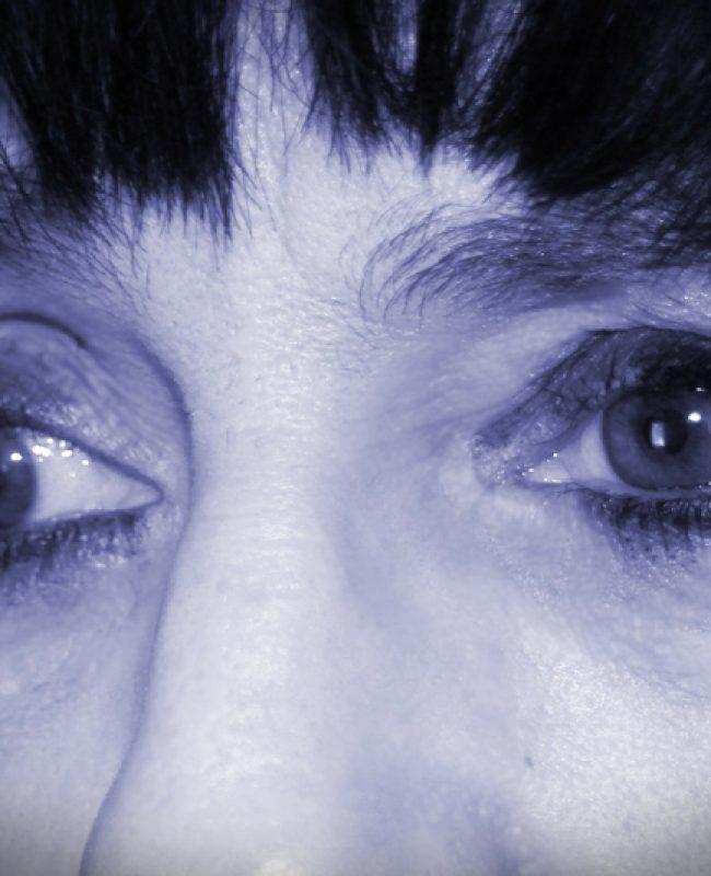 sad eyes of a depressed woman