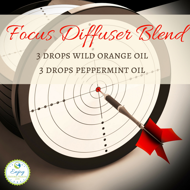 When focusing is important, combine 3 drops of peppermint and 3 drops of wild orange essential oil to help you stay focused. Great forthe office, during homework, and before exams!