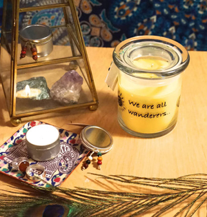 yellow candle with grapefruit essential oil