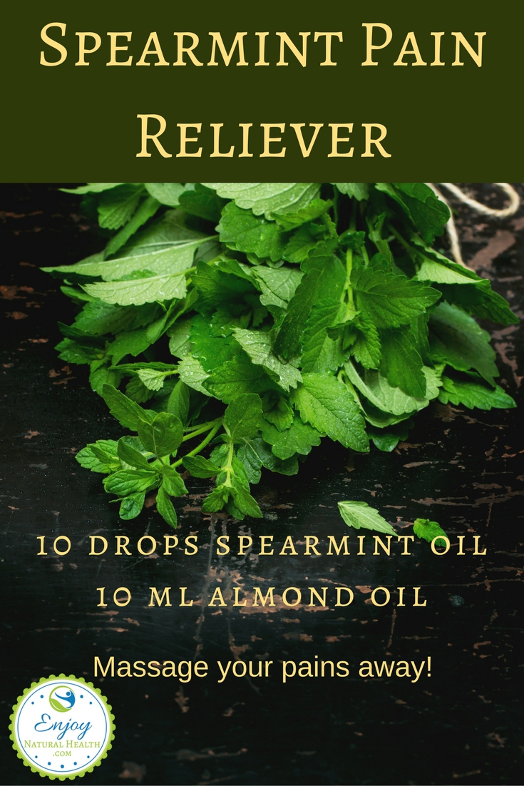 Use this spearmint pain reliever to soothe your achy muscles at the end of a hard day!