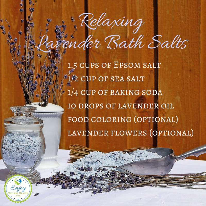 Relaxing lavender bath salts - Getting into the tub and adding a cup of this lavender bath salt does wonders for my frazzles nerves, and mellows me quickly, getting me ready for a good night sleep.