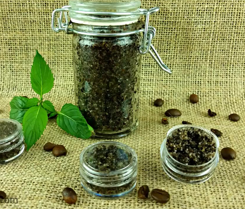 Use this peppermint coffee sugar scrub to perk up and rejuvenate your lips!