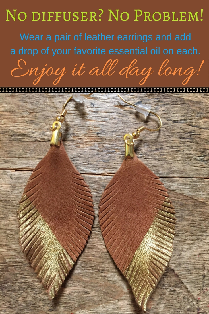 Want to enjoy your essential oils throughout the day? Try this: leather earrings with a drop of your essential oil on them ;). Click on the image for more ideas!