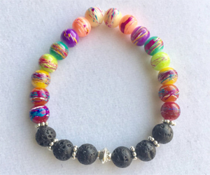 Rainbow Glass - Lava Rock Stretch Bracelet Essential Oil Diffuser