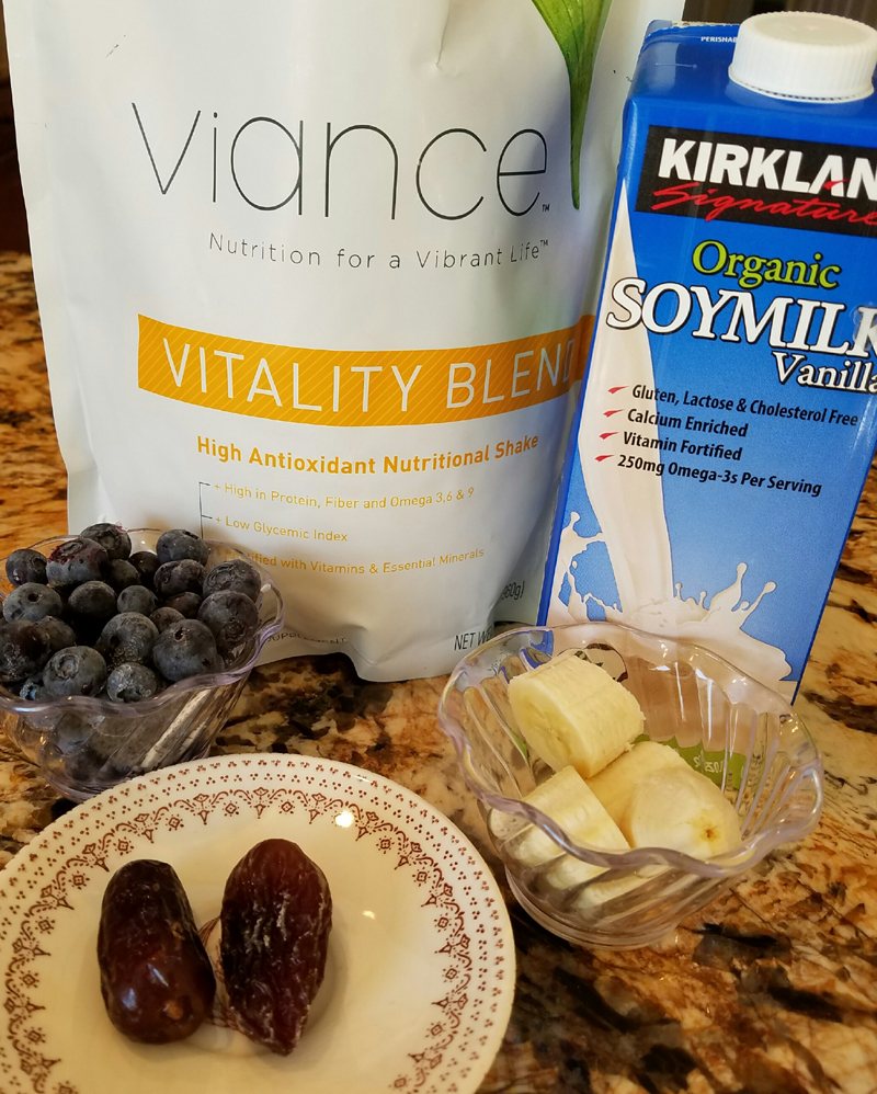 Here are all the ingredients needed to make the vitality blend chocolate smoothie
