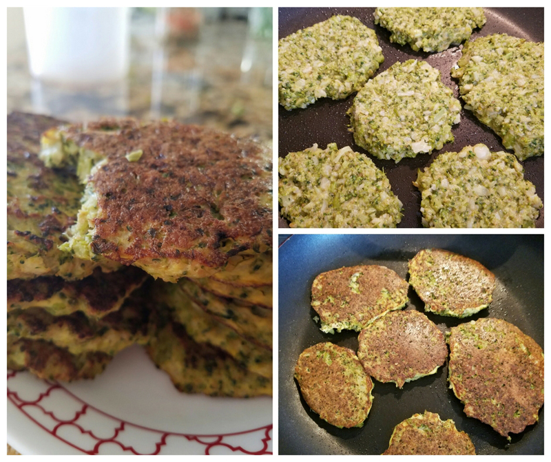 Cooking the cauliflower broccoli fritters the healthy way
